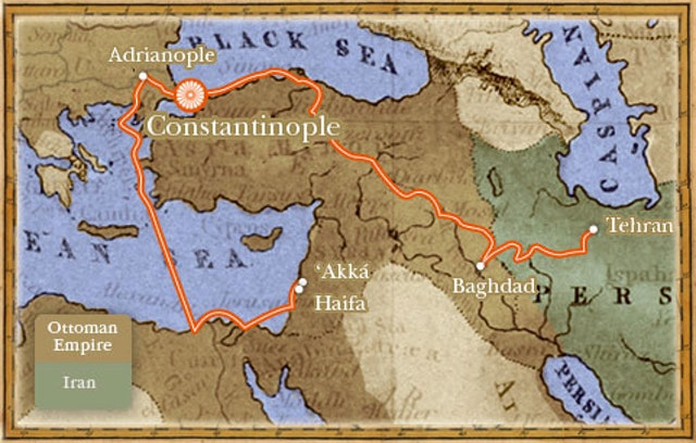 Map shows the exiles of Baha'u'llah after He left Tehran. Constantinople is now called Istanbul.