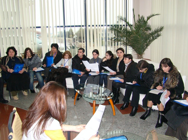 In Baku, Azerbaijan, some of the conference participants consult during a workshop. People from Turkmenistan, Georgia, and Azerbaijan attended the gathering, held on 21-22 February.