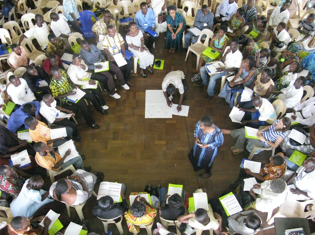 Baha'i regional conferences were held last weekend in Accra and Baku, the capitals of Ghana and Azerbaijan respectively. This photo is of a workshop session in Accra.