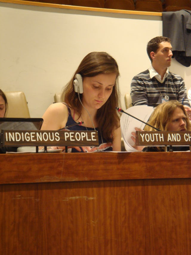 Alicia Cundall, 19, one of the Baha'i representatives at the U.N. Commission on Sustainable Development, read the statement prepared by the youth caucus for the plenary session of governments on 14 May.