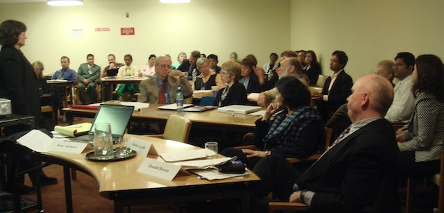 """""""Climate Ethics"""" was a Learning Center side event sponsored by the Baha'i International Community during the session of the U.N. Commission on Sustainable Development. The event was held on 4 May."""