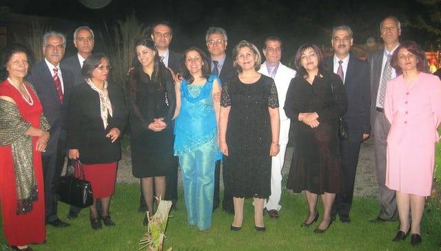 "The seven Baha'i ""leaders,"" with spouses, before their imprisonment."