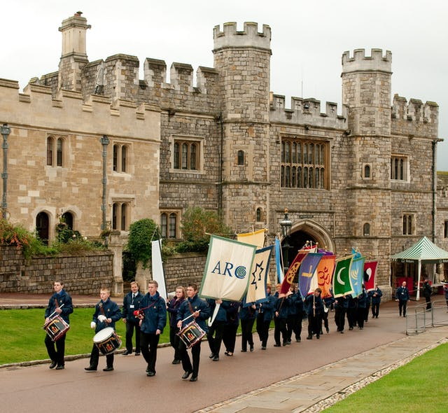 The procession of delegates enters Windsor Castle for the gathering hosted by the Alliance of Religions and Conservation (ARC) and the UN Development Programme. (Photos courtesy of ARC/Richard Stonehouse)