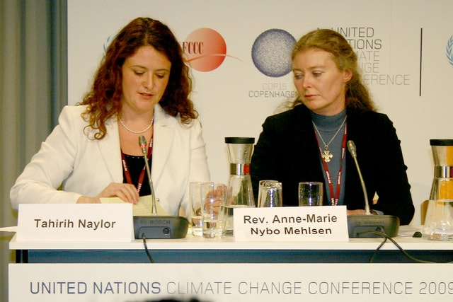 """At a press conference on the Interfaith Declaration on Climate Change, Baha'i representative Tahirih Naylor, left, said that climate change is """"challenging humanity to rise to the next level of our collective maturity."""""""