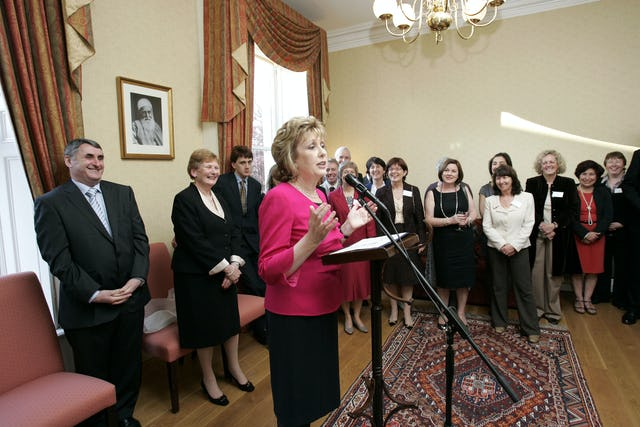Irish President Mary McAleese addresses the gathering at the Dublin Baha'i Centre