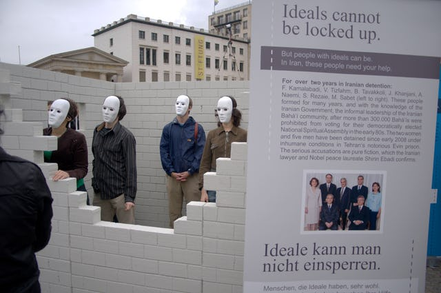 In Berlin, Germany, a replica prison cell was erected at the city's historic Brandenburg Gate, to draw attention to the case of Iran's imprisoned Baha'i leaders.