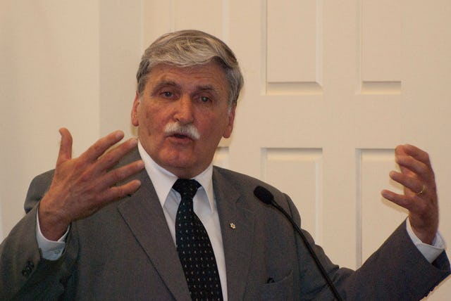 The 2010 World Religions Summit was addressed by Lieutenant General Romeo Dallaire, Canadian senator and former Force Commander of UNAMIR, the United Nations peacekeeping force for Rwanda between 1993 and 1994. Photograph by Louis Brunet.