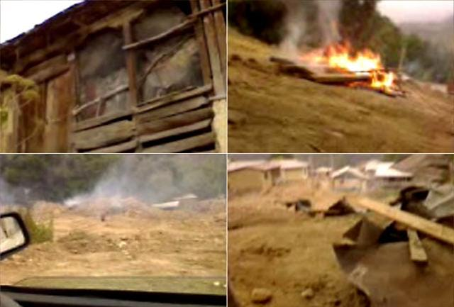 Images taken from a video, shot on a mobile telephone in the village of Ivel, show fiercely burning fires and several Baha'i-owned properties reduced to rubble.