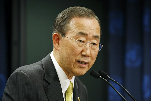 """UN Secretary General Ban Ki-moon, whose latest report on human rights abuses in Iran specifically highlighted the country's ongoing """"discrimination and harassment"""" of its Baha'i community."""