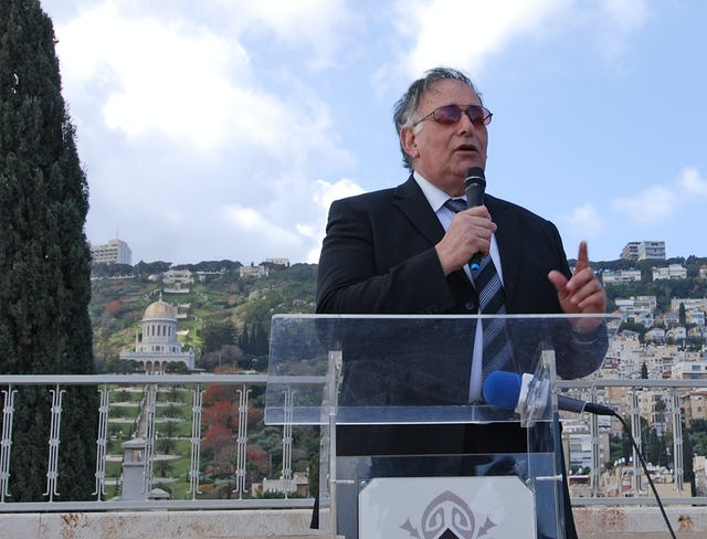 "The Mayor of Haifa, Advocate Yona Yahav, addressed guests at a celebratory reception to mark the completion of the restoration of the Shrine of the Bab. ""This is really something unique,"" said Mr. Yahav. ""in this city, in Israel - in fact in the world."" Photo credit: Baha'i World Centre photo. All rights reserved."