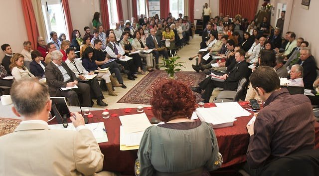 Delegates and visitors gathered at the national convention of the Spanish Baha'i community, held in Llíria, Valencia, 29 April – 1 May 2011. The convention included the 50th election of the National Spiritual Assembly of the Baha'is of Spain, consultation on the present-day concerns of the Baha'i community, and the sharing of memories of earlier elections from those who participated in them, including former National Spiritual Assembly members – Miguel Medina, Rouhollah Mehrabkhani, and Parvin Vahid-Tehrani.
