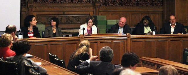 """A panel discussion held at the United Kingdom's Houses of Parliament on 15 June featured contributions from: (left to right) Nazila Ghanea, University of Oxford lecturer and editor of the """"Journal of Religion & Human Rights""""; Shadi Sadr, women's rights activist and lawyer; Louise Ellman MP, who chaired the panel; Mike Gapes MP; Khataza Gondwe of Christian Solidarity Worldwide, an advocacy group for the freedom of religious belief; and Omid Djalili, actor and comedian."""