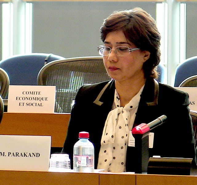 """Mahnaz Parakand, one of the lawyers for Iran's seven imprisoned Baha'i leaders, spoke at a meeting held at the European Parliament in Brussels, 28 June 2011. """"The pain and suffering that the Baha'is have to endure are in addition to the cruelties suffered by all the people of Iran,"""" said Ms. Parakand."""