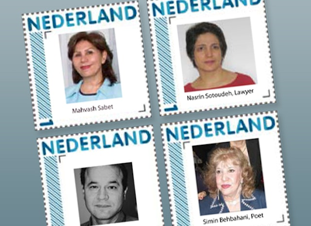 Postage stamps in the Netherlands depict victims of human rights abuses in Iran. They are, clockwise from top left, Mahvash Sabet, one of Iran's seven Baha'i leaders currently serving a 20-year prison sentence in Tehran's Evin Prison; human rights lawyer Nasrin Sotoudeh, serving an 11-year prison sentence; the prominent Iranian poet and feminist Simin Behbahani, who is barred from leaving the country; and transport workers' union leader, Mansour Osanlou, jailed since 2007.