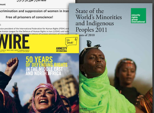 Three recent reports published by major human rights organizations that highlight Iran's treatment of its Baha'i citizens. The reports have been issued by the International Federation for Human Rights (top left), Amnesty International (bottom left) and Minority Rights Group International (right).