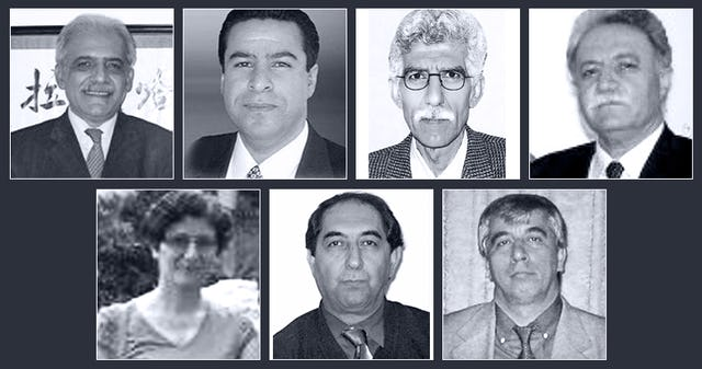 Seven Baha'i educators who are being held in prison in connection with their involvement in an informal community program to provide higher education for young Baha'is. They are (top row, left to right): Mahmoud Badavam, Ramin Zibaie, Riaz Sobhani, Farhad Sedghi; (bottom row, left to right) Noushin Khadem, Kamran Mortezaie, and Vahid Mahmoudi.