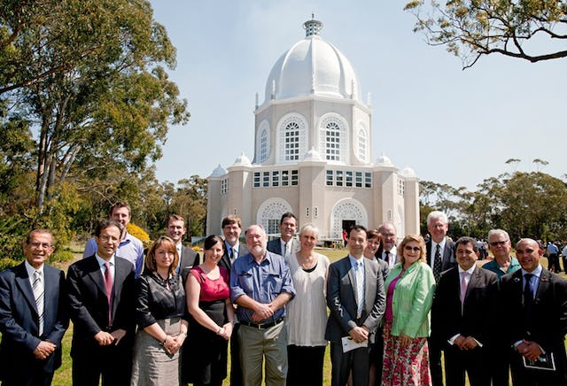 Civic dignitaries and guests gather in front of the Baha'i House of Worship in Sydney, Australia, ahead of a reception and service on 18 September 2011, marking the temple's fiftieth anniversary.