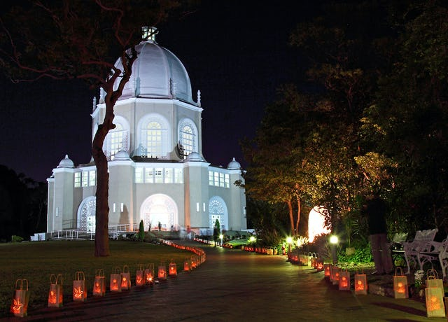 The Baha'i House of Worship in Sydney, Australia, specially illuminated for an interfaith prayer ceremony on Wednesday 21 September 2011 to mark the United Nations International Day of Peace. The service was part of a week of celebrations marking the fiftieth anniversary of the temple.