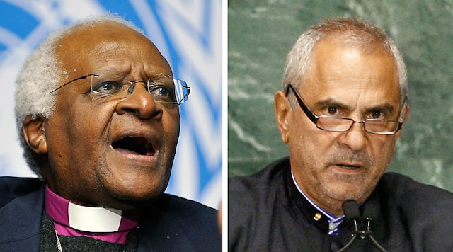 Two Nobel Peace Prize laureates – Desmond Tutu, the Anglican Archbishop Emeritus of Cape Town, and Jose Ramos-Horta, President of East Timor – who have joined the global outcry at the persecution faced by Baha'i educators in Iran. (Photo credits: left, UN Photo/Jean-Marc Ferre; right, UN Photo/Ky Chung)