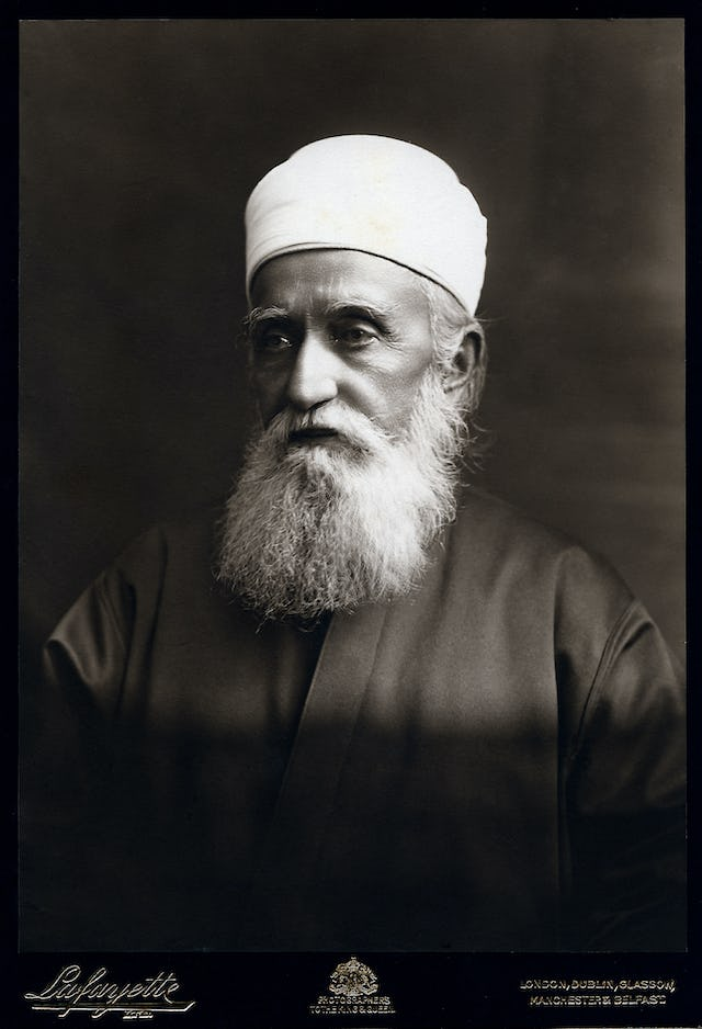 'Abdu'l-Baha, photographed during His visit to London by the famous Lafayette studio. He spent four weeks in the city in September 1911, and later returned from December 1912 to January 1913.