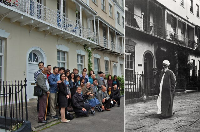 "In Bristol, on 23-25 September, local Baha'is recalled 'Abdu'l-Baha's weekend visit 100 years ago. Here they can be seen outside the house where 'Abdu'l-Baha stayed. Prayers, storytelling, songs and dramatic presentations, held at two locations in the city, were described as ""uplifting"" and ""inspiring"" by participants."