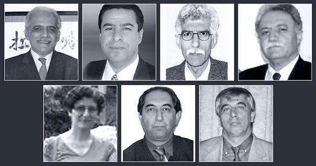 The seven Baha'i educators sentenced to prison are (top row, left to right): Mahmoud Badavam, Ramin Zibaie, Riaz Sobhani, Farhad Sedghi; (bottom row, left to right) Noushin Khadem, Kamran Mortezaie, and Vahid Mahmoudi.