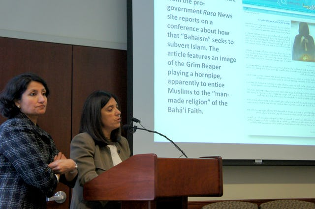 """The report, """"Inciting Hatred – Iran's Media Campaign to Demonize Baha'is,"""" was launched on Friday 21 October at the New York offices of the Baha'i International Community (BIC). Pictured here are, left, Bani Dugal, the BIC's Principal Representative to the United Nations; and, right, Diane Ala'i, BIC Representative to the UN in Geneva. The report reflects the Iranian government's """"irrational fear"""" and """"great contempt"""" of its Baha'i community, said Ms. Ala'i."""