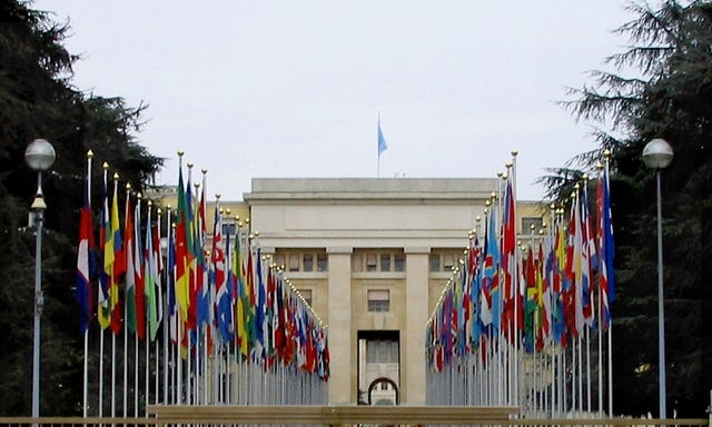 """The United Nations Human Rights Committee, meeting at the Geneva headquarters of the UN, pictured, has urged Iran to """"take immediate steps to ensure that members of the Baha'i community are protected against discrimination in every field…"""" The Committee's recommendations coincided with the Baha'i International Community learning of a new wave of attacks against Baha'is and their property in Iran."""