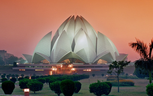 """The Baha'i House of Worship in New Delhi, India. An estimated 70 million people have been welcomed through its doors since its opening 25 years ago, making it one of the world's most visited buildings. The temple is currently also highlighted in the """"Incredible India"""" campaign, the Indian government's international strategy to showcase the cultural diversity and special achievements of the country."""