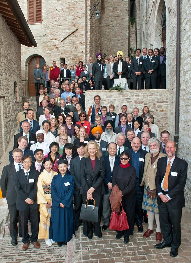 Founder members and friends of the Green Pilgrimage Network, launched at Assisi, Italy, in a celebration organised by the Alliance of Religions and Conservation (ARC) in association with WWF, on 1 November 2011. Photograph: ARC/Katia Marsh.