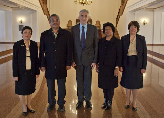 The president of the Republic of Palau made an official visit to the Baha'i World Centre on Friday 25 November. Pictured from left to right: Mrs. Zenaida Ramirez, member of the International Teaching Centre; President Johnson Toribiong of Palau; Mr. Stephen Hall, member of the Universal House of Justice; Mrs. Valeria Toribiong, first lady of Palau; Mrs. Dicy Hall.