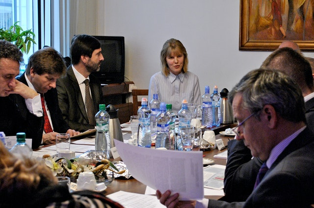 Members of the Slovak Republic's Foreign Affairs Committee studied the situation of the Baha'is of Iran at a hearing on 7 December 2011. Addressing the Committee, pictured center, is Andrea Polokova, a representative of the Baha'i community of Slovakia.