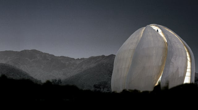A computer-generated rendition of the Baha'i House of Worship under construction in Santiago, Chile, simulating how it will appear at dusk. When completed, it will be the last Baha'i Temple to be erected to serve an entire continent. These unique buildings are open to all people for prayer and meditation, regardless of religion or any other distinction. Image © Hariri Pontarini Architects.