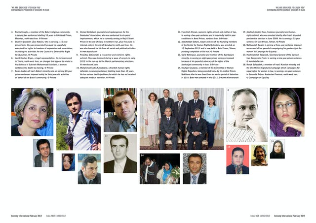 These pages from the Amnesty International document depict some of the prisoners and detainees mentioned in the report. They include Rozita Vaseghi (picture 4), a Baha'i from Mashhad serving a 10-year jail term and banned from leaving Iran for a further 10 years; the seven former leaders of the Iranian Baha'i community (7), who are each imprisoned for 20 years; and human rights lawyer Abdolfattah Soltani (12), who was arrested on 10 September 2011 and is now held in Tehran's Evin Prison pending completion of his trial.