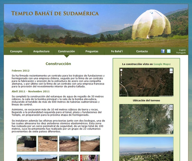 The website for the Baha'i Temple of South America, has been launched in Spanish, Portuguese and English at http://templo.bahai.cl. It aims to address the questions that the project is generating – about the temple's concept, design and construction, and the Baha'i teachings that have inspired it.
