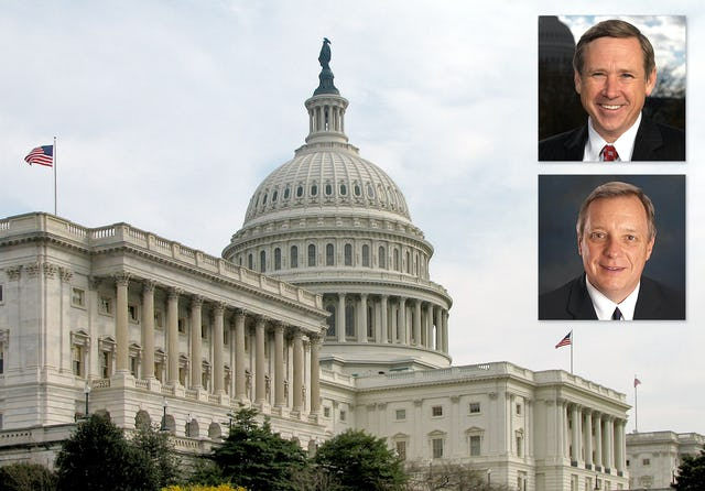 The U.S. Senate resolution condemns the government of Iran for its state-sponsored persecution of Baha'is. The resolution was introduced last year by Illinois Senators Mark Kirk (top) and Richard Durbin.
