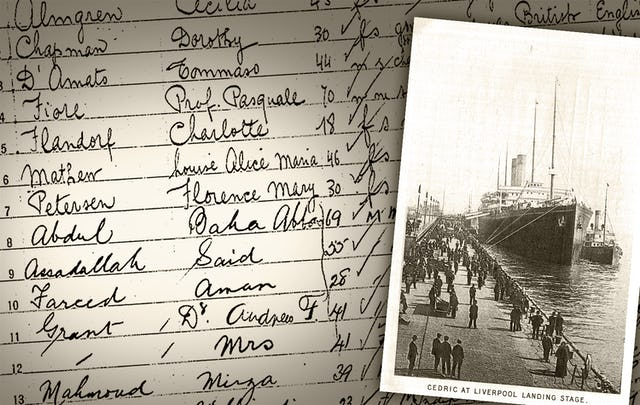 The names of 'Abdu'l-Baha and some of his entourage as they appeared on the list of passengers bound for the United States from Naples on the S.S. Cedric, 30 March 1912.