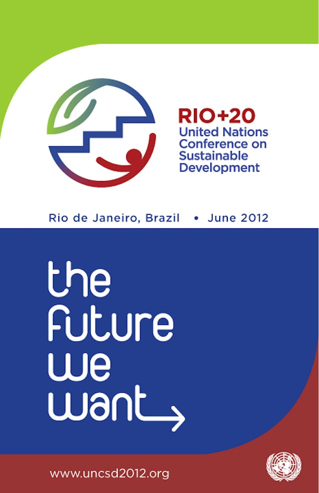 A brochure cover for the 2012 UN Conference on Sustainable Development. The Rio+20 logo shows the three components of sustainable development – social equity, economic growth and environmental protection – connected in the shape of a globe.