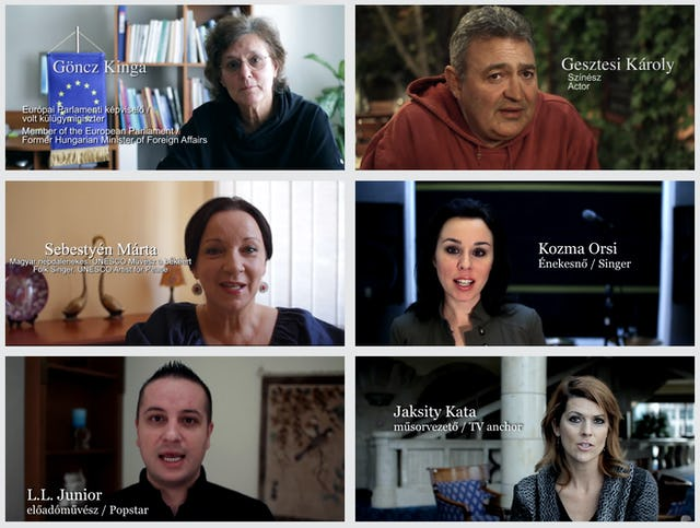"""Personalities in the """"Prominent Hungarians for Human Rights in Iran"""" campaign have posted online video messages."""