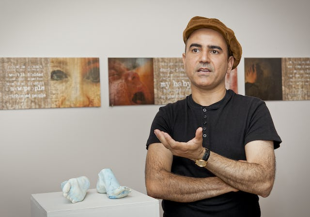 """Artist Mehrzad Mumtahan is the nephew of one of seven former Baha'i leaders in Iran who are each currently serving a 20-year prison sentence. Mr. Mumtahan's ceramic sculpture, titled """"Turquoise Feet,"""" pictured, conveys the cruelty of a commonly-used punishment in which the soles of a prisoner's feet are beaten."""