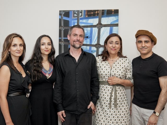 """Pictured at the exhibition's opening on 15 December are: (from left to right): writer Maryam Master; painter and digital artist Shadi Eshragi; Brendan Penzer, managing director of """"At the Vanishing Point-Contemporary Art Inc.""""; Monir Rowshan, exhibition co-curator; and artist Mehrzad Mumtahan."""