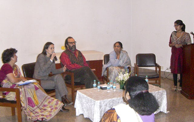 "Participants in the seminar ""Ending Violence against Children,"" held in New Delhi on 22 November, take part in an interactive session. Pictured: (from left) Farida Vahedi, Baha'i Office of Public Affairs; Dora Giusti, UNICEF; Javed Naqvi, journalist; Shanta Sinha, National Commission for the Protection of Child Rights; and Nilakshi Rajkhowa, Indian Baha'i Office of Public Affairs."