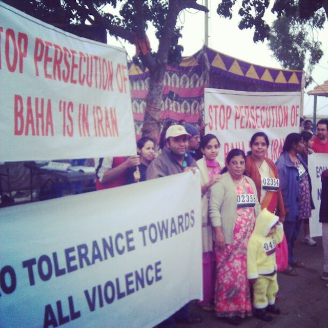 At a marathon, organised by the Classic Road Runners Athletic Club of Bangalore, spectators carried banners calling for the release of prisoners of conscience in Iran.