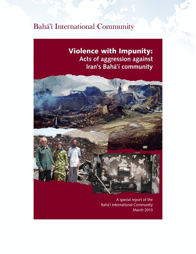 The 45 page report documents incidents of violence and abuse against Iran's Baha'i community.