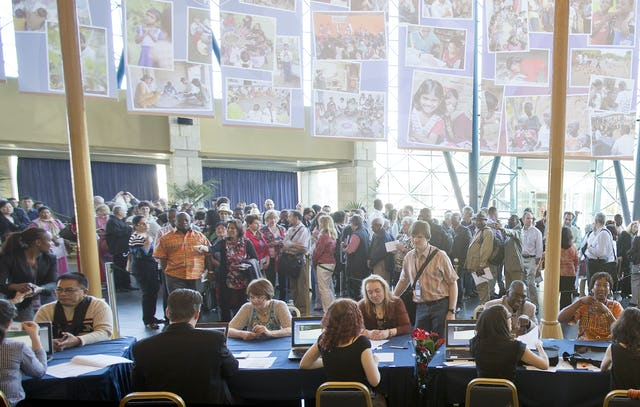 Delegates are registered for the 11th International Baha'i Convention upon their arrival at the Haifa Convention Center.