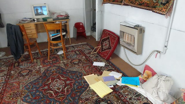 Interior of a Baha'i home in Abadeh, Iran, after agents of the Ministry of Intelligence conducted a raid on 13 October 2013. Agents also summoned occupants for questioning, where they were threatened and urged to leave the city.