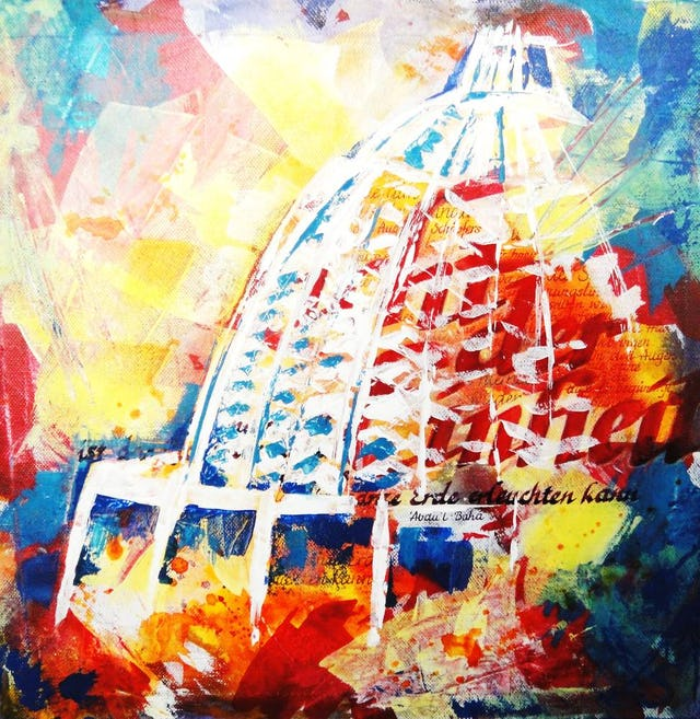 """The painting, """"Light 2"""" by Andrea Seidel is being shown at an exhibition of art celebrating the 50th anniversary of the Baha'i House of Worship in Langenhain, Germany. Twelve artists from Langenhain and the surrounding district are showing paintings and photography inspired by the Temple."""