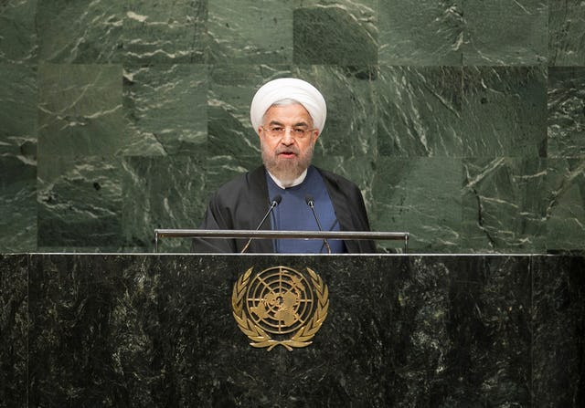 Iranian President Hassan Rouhani addresses the UN General Assembly on 25 September 2014. (UN Photo)
