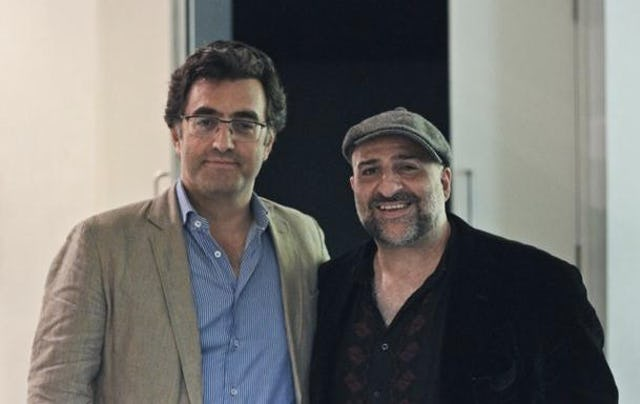 Journalist Maziar Bahari with actor/comedian Omid Djalili at the UK premiere of Mr. Bahari's film, To Light a Candle, 12 September 2014.