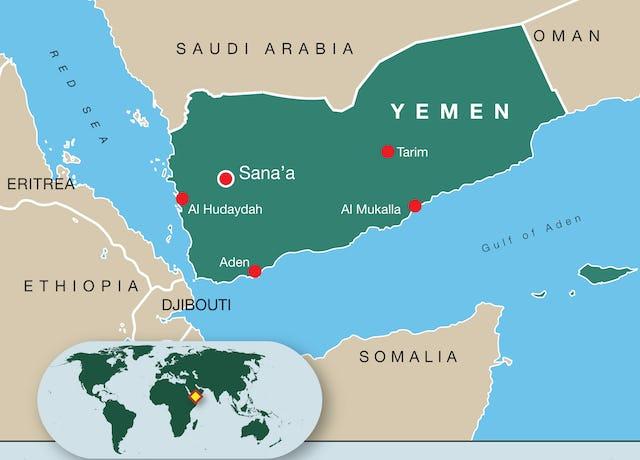 Map of Yemen.